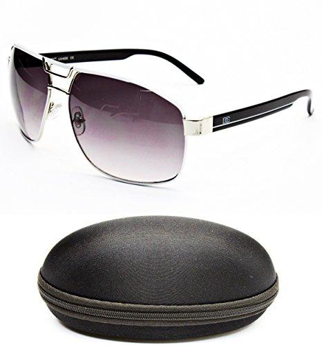 D990-CC Designer Eyewear Metal Aviator Sunglasses (O2938B White/Silver/Black, - Sunglasses Rectangle Aviator