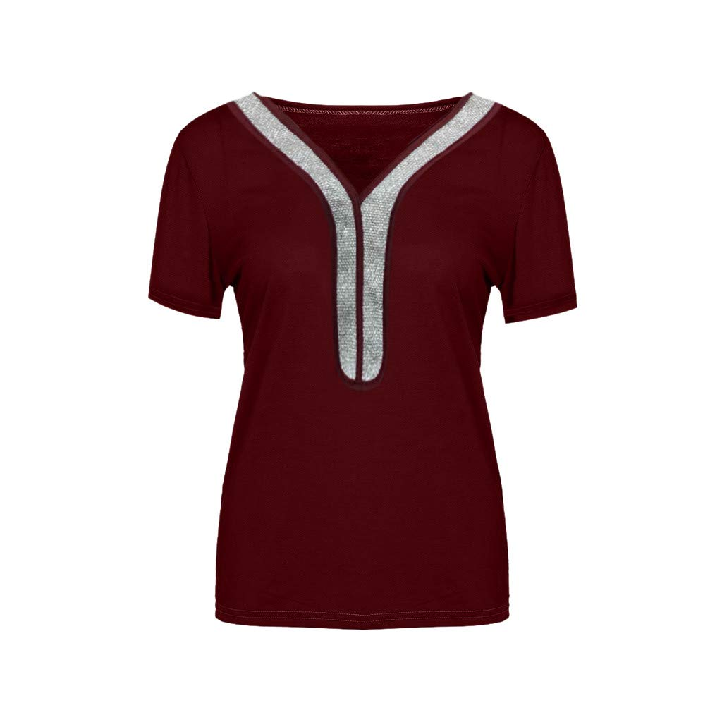 KYLEON Women Plus Size Shirts V-Neck Sequins Short Sleeve Ladies Solid Casual Blouse Summer Tank Tunics Vest Camis Tops Wine by KYLEON (Image #3)