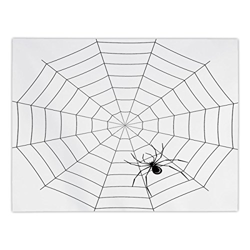 iPrint Rectangular Satin Tablecloth,Spider Web,Toxic Poisonous Insect Thread Crawly Malicious Bug Halloween Character Design Decorative,Black White,Dining Room Kitchen Table Cloth -