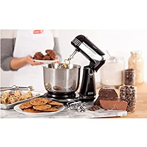 Dash Stand Mixer (Electric Mixer for Everyday Use): 6 Speed Stand Mixer with 3 qt Stainless Steel Mixing Bowl, Dough Hooks & Mixer Beaters for Dressings, Frosting, Meringues & More