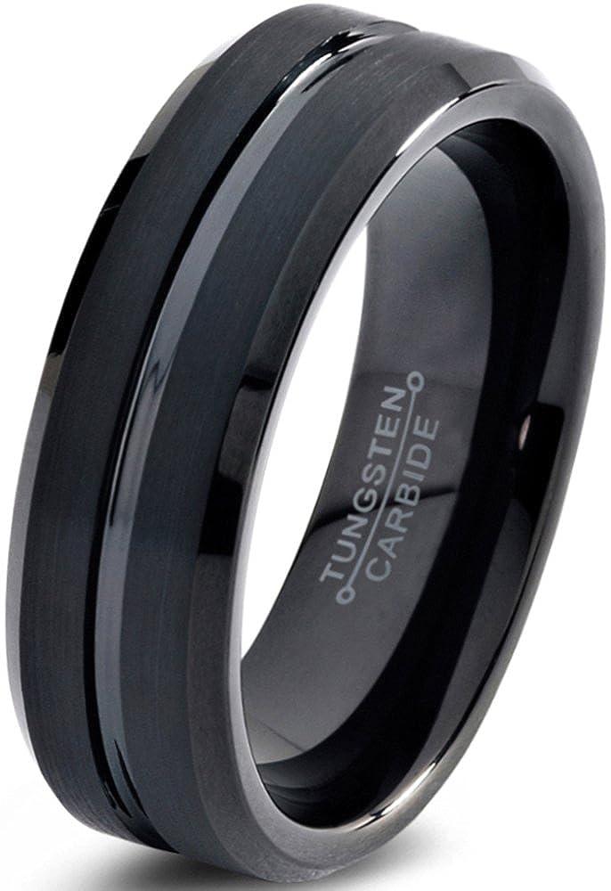 Tungsten Wedding Band Ring 6mm for Men Women Comfort Fit Black Enamel Beveled Edge Polished Brushed Charming Jewelers CJCDN-2116