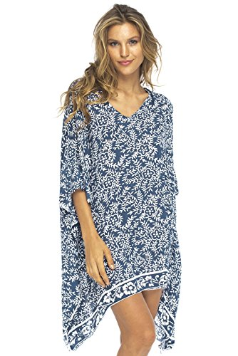 - Back From Bali Womens Beach Swimsuit Cover up Dress Caftan Floral Short Poncho Bun Navy