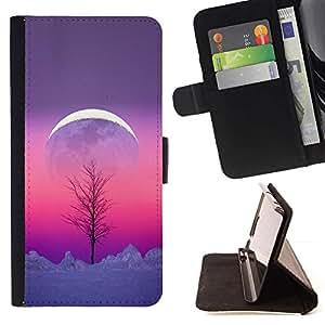 For Samsung Galaxy S6 Case , Sky Tree invierno Purple Pink Peach- la tarjeta de Crédito Slots PU Funda de cuero Monedero caso cubierta de piel