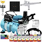 Master Airbrush Custom Body Art System Kit with Cool Runner II Dual Fan Air Compressor, Gravity Airbrush, 8 Color Temporary Tattoo Paint Set, 100 Stencils, Reusable Self-Adhesive Designs, How To Guide