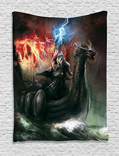 Tap Head Art (Ambesonne Dragon Tapestry Dark Decor, Imaginary Wrath Ship Vikings Theme Dragon Boat with Head of Beast in The Storm Print, Bedroom Living Room Dorm Wall Hanging, 60 W x 80 L inches, Grey Red)