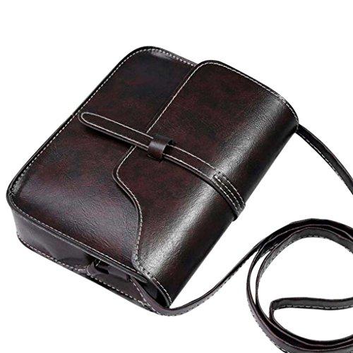 Vintage Crossbody,Clearance! AgrinTol Vintage Purse Bag Leather Crossbody Shoulder Messenger Bag (Coffee)
