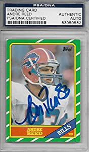1986 Topps Football Andre Reed Autographed Rookie Card # 388 PSA/DNA Certified
