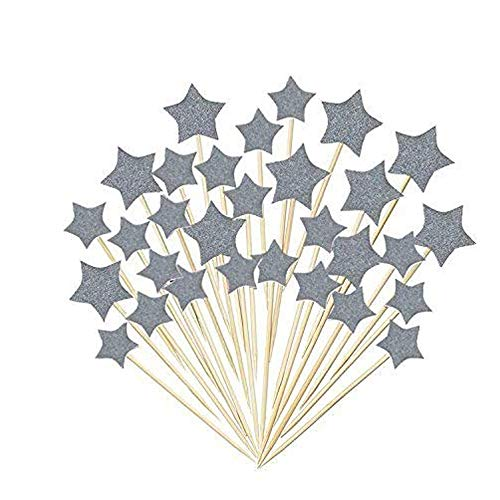 Star Cupcake Picks - 36 Pieces Cake Toppers Cupcake Silver Star Topper Star Cake Decor for Birthday Wedding Ceremony