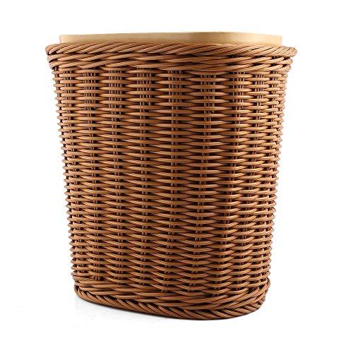 PINCHUANGHUI Weave Trash Can Imitated Rattan Plastic Garbage Bin Wastebasket Waste Basket for Household Bedroom Office
