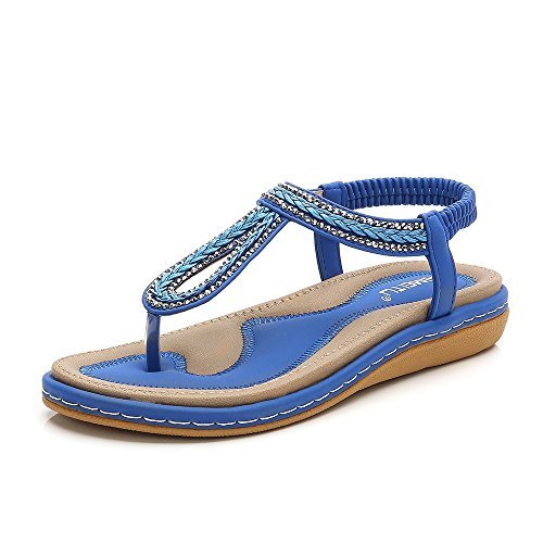 (Meeshine Women T-Strap Rhinestone Beaded Gladiator Flat Sandals Summer Beach Sandal Blue-02 US)