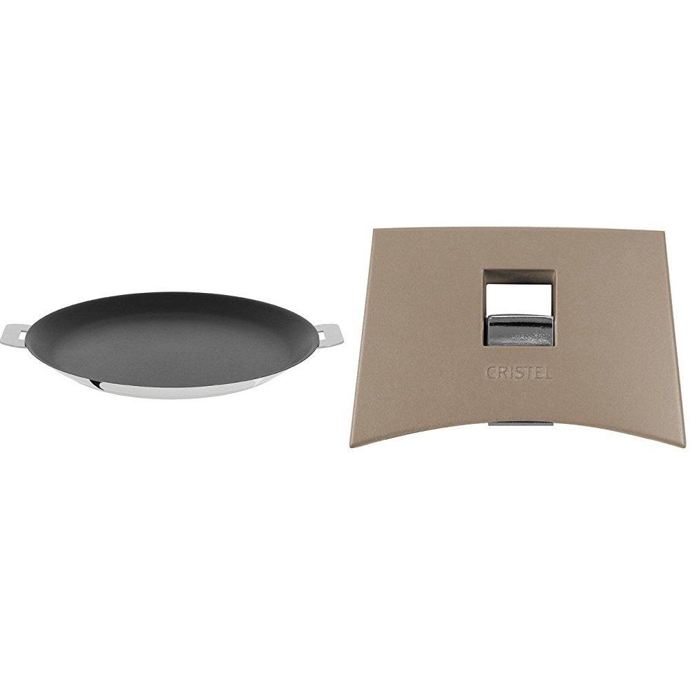 Cristel CR30QE Non-Stick Crepe Pan, Silver, 12'' with Cristel Mutine Spplmat Set Of Handles, Taupe