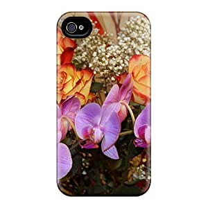New Iphone 4/4s Case Cover Casing(orange Red Roses Orchids)