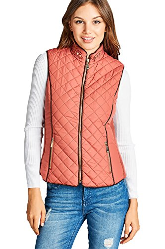 Lined Shearling Vest - Active USA Quilted Padding Faux Shearling Lined Vest (Dusty Pink-Large)