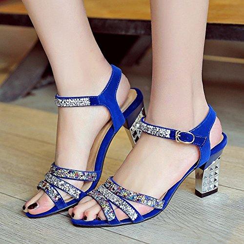 Carolbar Womens Buckle Rhinestone Sexy Fashion Party Chunky High Heel Sandals Blue dv95r01zjx
