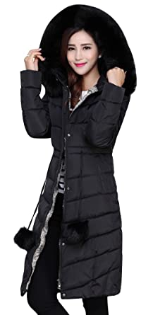 fa5e1cda98 ACE SHOCK Winter Coat Women Knee-Length Long, Faux Fur Cotton Padded Parka  Winter