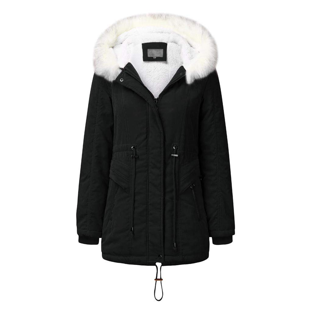 Pandaie Women Winter Jacket Parka Coat Fur Hooded Warm Lined Plush Quilted Down Jacket Trench Coat Black by Pandaie