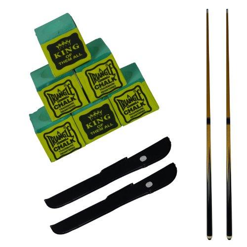 2 x 2 pedazo de la calidad comercial de 48 pulgadas taco de billar / pool con 2 x casos LIBRES y 6 LIBRES triángulo verde Tizas SGL