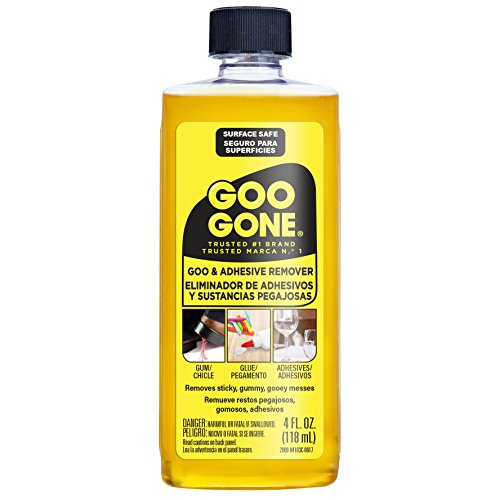 Goo Gone Original Adhesive Remover - 4 Ounce - Surface Safe Adhesive Remover Safely Removes Stickers Labels Decals Residue Tape Chewing Gum Grease Tar