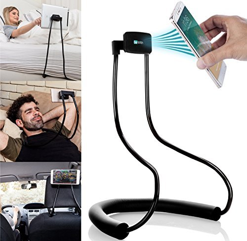 GoWith Magnetic Tablet & Cell Phone Holder, Universal Mobile Phone Stand, Lazy Bracket for Table, Bed, Car & Bike, Adjustable Rotating Gooseneck Mount with Flexible, Collapsible and Portable Design (Mobile Device Holder)