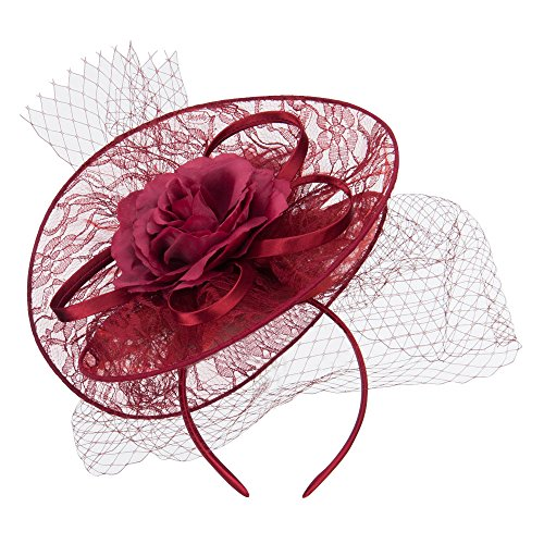 - SS/Hat Fan Up Lace Flower Fascinator - Burgundy OSFM