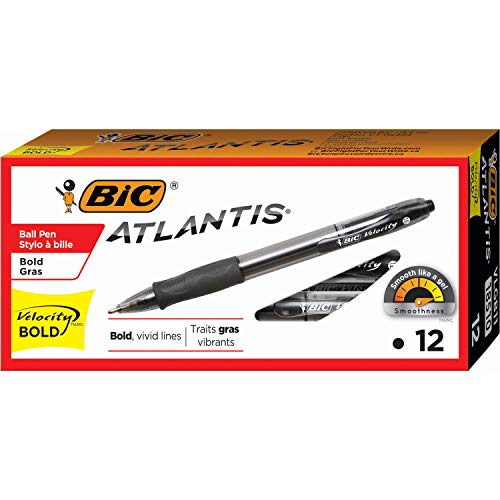 BIC VLGB11-Blk Velocity Bold Retractable Ball Pen, Bold Point (1.6mm), Black, 12-Count ()