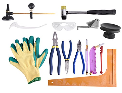 Professional 15 Pieces Mosaic tile and Stained Glass Start-up Tool Set with Carrying Case, Lead Came Kit for Beginner with Cutters, Pliers, Square, Hammer, Fid, Safety Glass, etc.