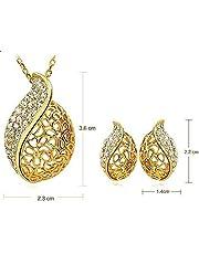 طقم مجوهرات اوراق الاكاسيا مطلي بالذهب عيار 18 قيراط