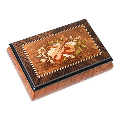 String Instruments Matte Italian Hand Crafted Inlaid Elm Wood Musical Box Plays Tune Clair De Lune