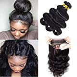 Sweetie Hair 7A Grade Brazilian Virgin Human Hair Body Wave 3 Bundles With 360 Full Lace Band Frontals (16 18 20 with 14 inch) Free Part Natural Color