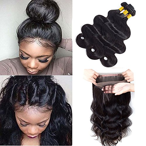 Sweetie Hair 7A Grade Brazilian Virgin Human Hair Body Wave 3 Bundles With 360 Full Lace Band Frontals (16 18 20 with 14 inch) Free Part Natural Color by Sweetie Hair (Image #9)