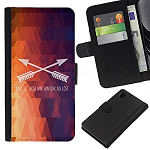 KLONGSHOP // Tirón de la caja Cartera de cuero con ranuras para tarjetas - Polígono Flecha patrón texto fuego púrpura - Sony Xperia Z1 L39 //