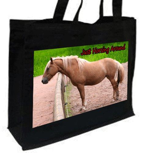 Palamino cavallo Borsa per la spesa, in cotone, colore: nero
