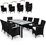 PolyRattan-Sitzgruppe-81-Stapelbar-Sitzgarnitur-Gartenmbel-Gartenset-Gartengarnitur-Rattan-Schwarz