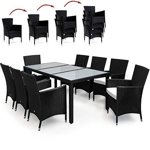 PolyRattan Sitzgruppe 8+1 Stapelbar Sitzgarnitur Gartenmöbel Gartenset Gartengarnitur Rattan Schwarz