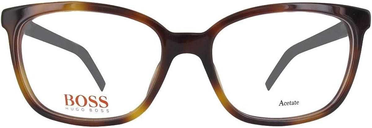 Amazon Com Boss Orange Bo 0257 Geometric Acetate Women Havana Black 5fc 53 16 140 Clothing
