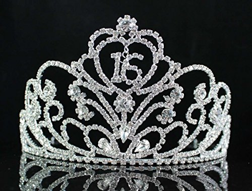 - Janefashions Sweet Sixteen 16 Years Old 16th Birthday Party Princess Clear White Austrian Rhinestone Tiara Crown With Hair Combs Jewelry T1863 Silver