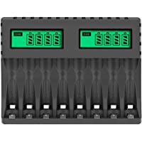 Fauge Battery Charger LCD Display Intelligent 8-Slot Chargers for AA/AAA NiCd NiMh Rechargeable Batteries AA AAA Charger
