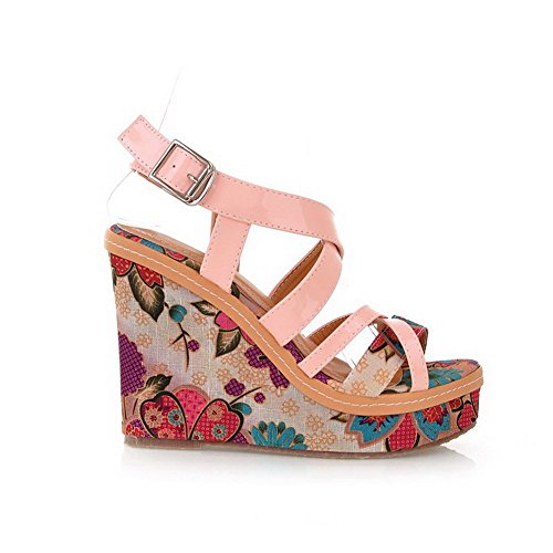 AllhqFashion Women's Patent Leather Buckle Open Toe High Heels Assorted Color Sandals Pink AbhVG
