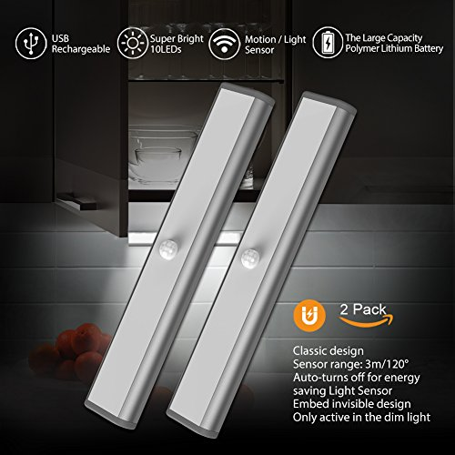 Wireless Motion Sensor USB Rechargeable Magnet Light, 3 Operation Modes(G,ON and OFF) Lights Stick-On Anywhere Removable Camping Emergency Night Light Lamps Bulb Lighting Bar (2 Pack 10LED, (Accent Night Light)