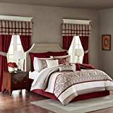 King Size Comforter Sets with Matching Curtains Madison Park MPE10-233 Essentials Jelena Room in a Bag King Red