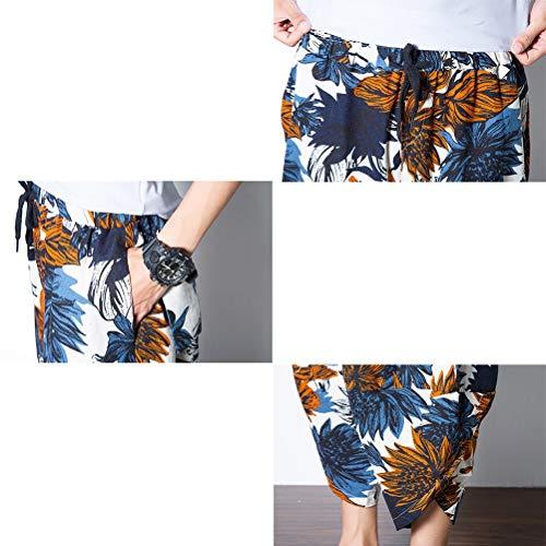 Hippie Mode Chic Respirant Short Lâche Thai Casual Pantalon 77 Hommes Lin Bolawoo Bleu Plage Harem Fantaisie Jeunes D'été zn5q4v