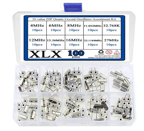 (XLX 100 Pcs 10 value DIP Quartz Crystal Oscillator 4M,6M,8M,11.052M,12M,13.56M,16M,22.1184M,27M,32.768K Crystal Resonators Oscillator Assortment Kit Each of 10Pcs)