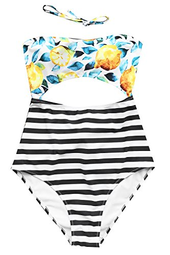 (CUPSHE Women's Halter Design Printing Tie at Back One-Piece Padding Swimsuit, Lemon Printing, XX-Large )
