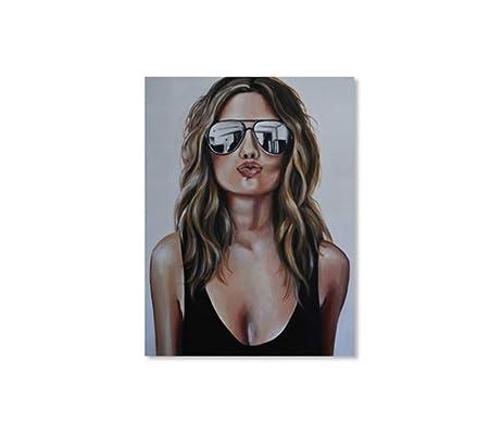 SCLPOSTER Cartel Retro Nordic Girl Retrato Belleza Gafas de ...