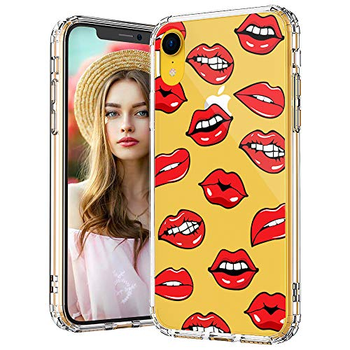 MOSNOVO iPhone XR Case, Clear iPhone XR Case, Sexy Lips Pattern Clear Design Transparent Plastic Hard Back Case with Soft TPU Bumper Protective Case Cover for Apple iPhone XR
