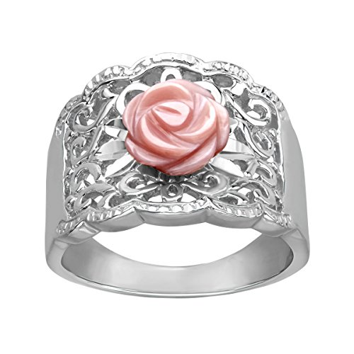 Pink Mother Of Pearl Ring (Pink Natural Mother-of-Pearl Flower Ring in Sterling Silver Size 6)