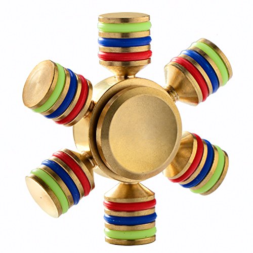 CFIKTE Six Winged Brass Fidget Hand Spinner EDC Focus Anti-Anxiety Finger Toy,Circular Stress Reducer Mute Balance Spin 3-5 minutes Gadget Perfect Size For Kids Ladies ADHD Anxiety Autism Adult Gift
