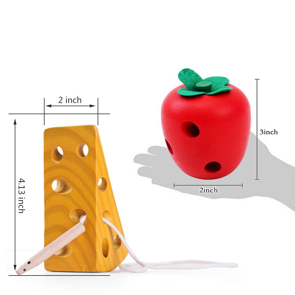 Children Learning Educational Wood Block Puzzles Toy for Toddlers Boys Girls Montessori Activity Caterpillars Eat Apple and Kids Cheese Toys Early Development Toys Wooden Lacing Toys