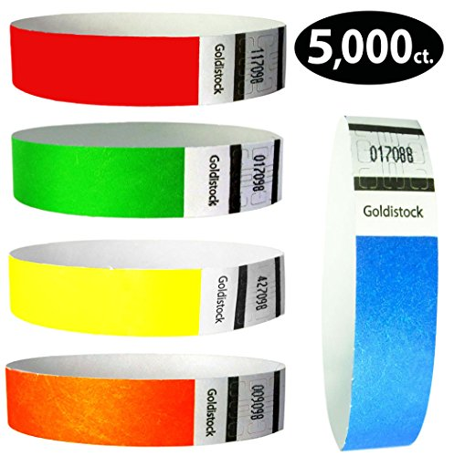 Tyvek Wristbands - Goldistock 5,000 Count Rainbow Variety Pack - ¾