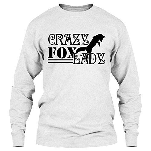 EZARO Fox T Shirt - Crazy Fox Lady Cool T Shirts Design Long Sleeve (XL,White)
